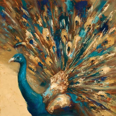 Animal Canvas Prints Framed Wall Art Small Picture Blue Teal Peacock Purple