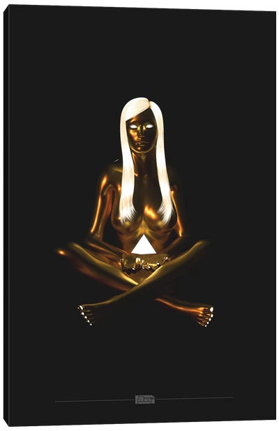 Golden Meditate Pyramid Canvas Art Print
