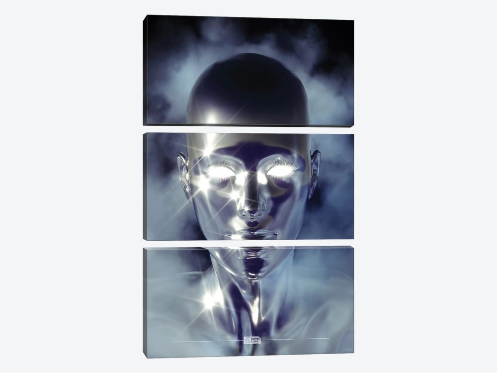 Silver Alien by maysgrafx 3-piece Canvas Art Print