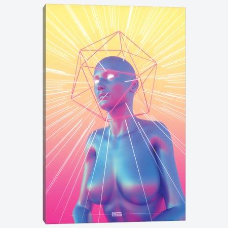 Blue Icosa Head Canvas Print #JUS7} by maysgrafx Art Print