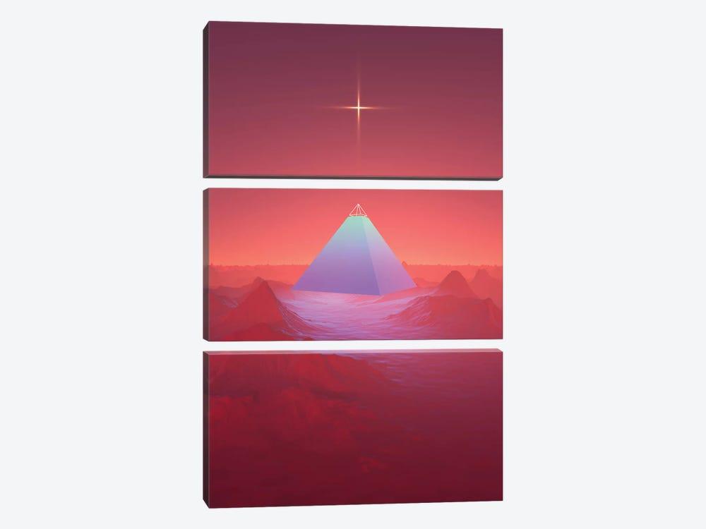 Blue Pyramid by maysgrafx 3-piece Canvas Art Print