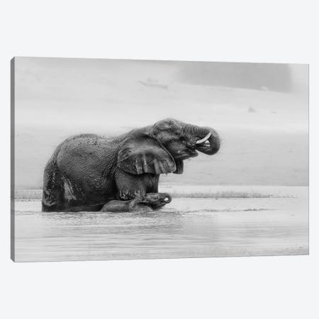 Crossing The River With Mother Canvas Print #JUZ3} by Jun Zuo Art Print