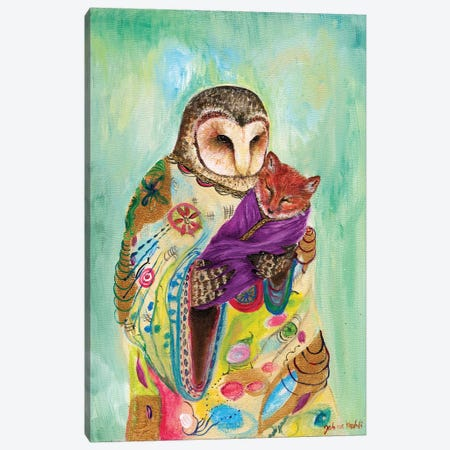 Mother Owl Canvas Print #JVA18} by Jahna Vashti Art Print
