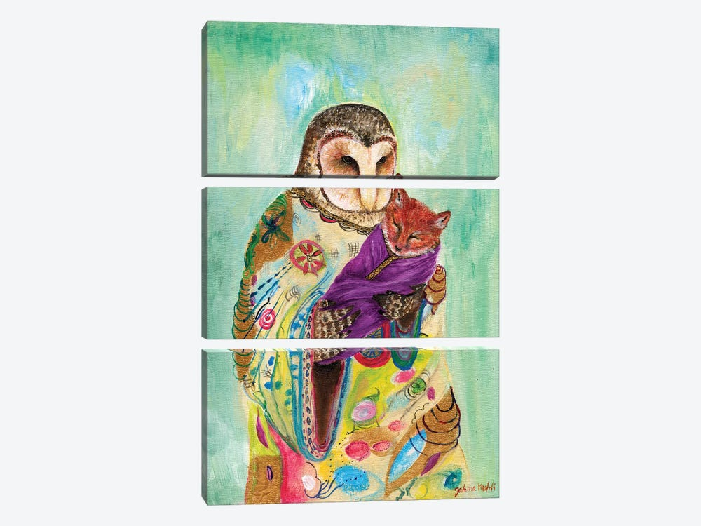 Mother Owl by Jahna Vashti 3-piece Canvas Print