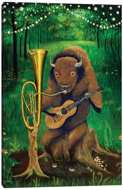 One Man Bison Band Canvas Art Print