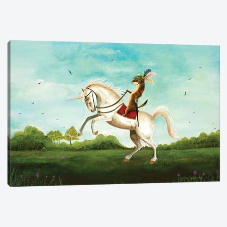 Sir Weasel's Advance Canvas Print #JVA27} by Jahna Vashti Canvas Art Print