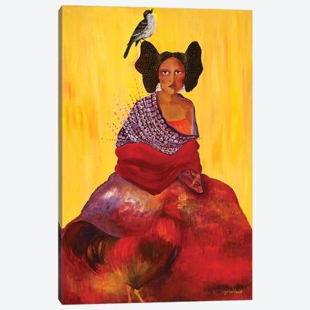 The Rooster, The Mockingbird and The Maiden Canvas Print #JVA33} by Jahna Vashti Art Print