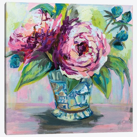Pink Peonies I 3-Piece Canvas #JVE104} by Jeanette Vertentes Canvas Print