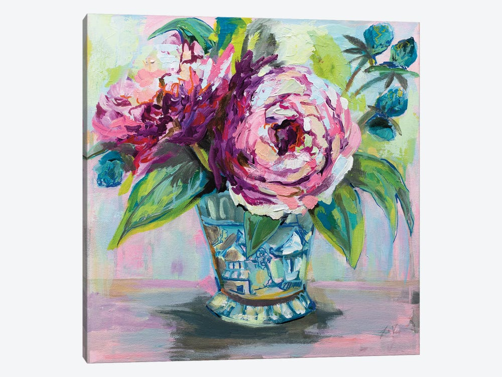 Pink Peonies I by Jeanette Vertentes 1-piece Canvas Artwork