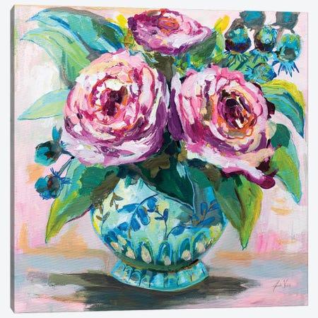 Pink Peonies II Canvas Print #JVE105} by Jeanette Vertentes Canvas Art Print