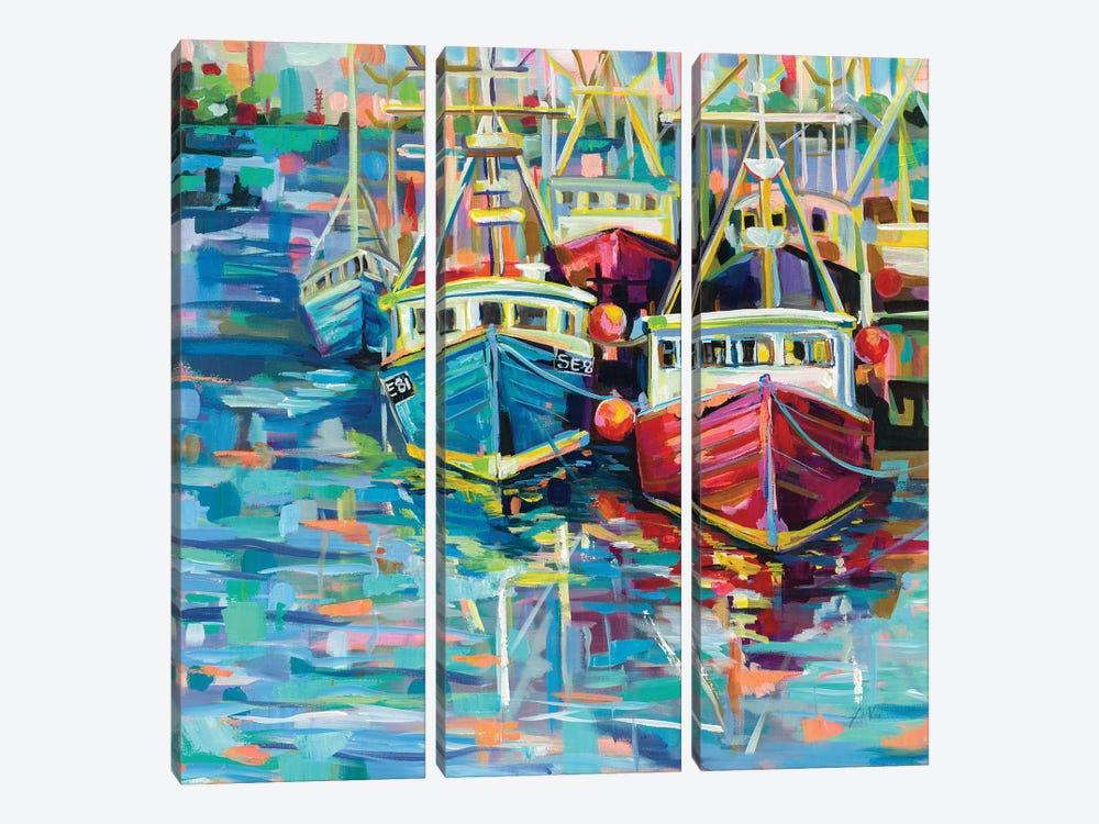 Stonington Docks by Jeanette Vertentes 3-piece Canvas Artwork