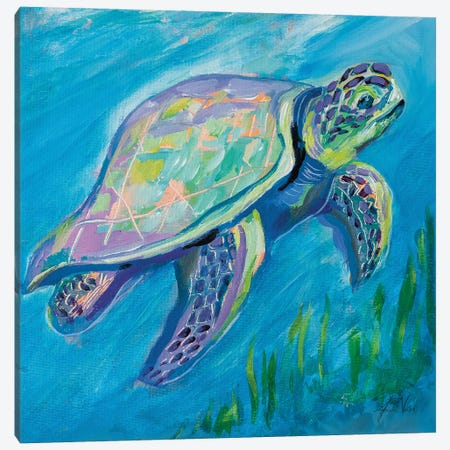 Sea Turtle Swim Canvas Print #JVE140} by Jeanette Vertentes Canvas Artwork