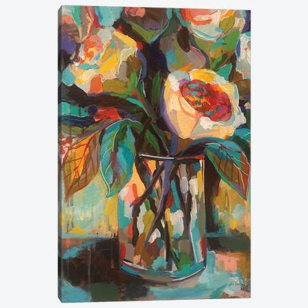 Stained Glass Floral Canvas Print #JVE16} by Jeanette Vertentes Canvas Art