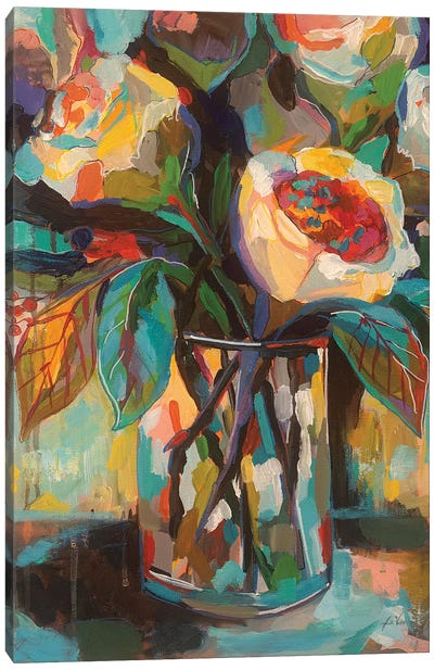 Stained Glass Floral Canvas Art Print