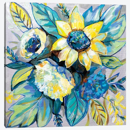 Sage and Sunflowers I Canvas Print #JVE51} by Jeanette Vertentes Art Print