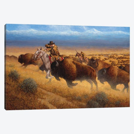 Autumn Buffalo Hunt Canvas Print #JVL13} by Joe Velazquez Canvas Art