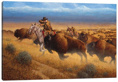 Autumn Buffalo Hunt Canvas Art Print