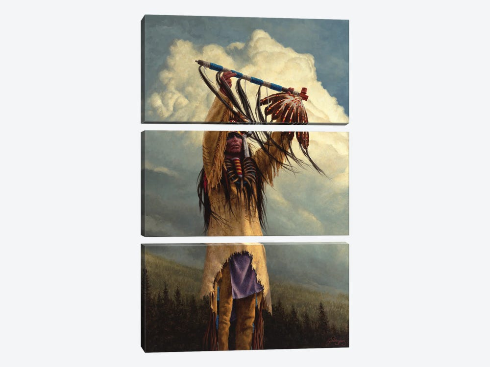 Keeper Of The Sacred Pipe by Joe Velazquez 3-piece Canvas Artwork