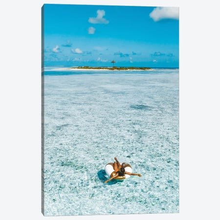 Maldives Resort Island Girl Pool Ring Canvas Print #JVO103} by James Vodicka Canvas Art