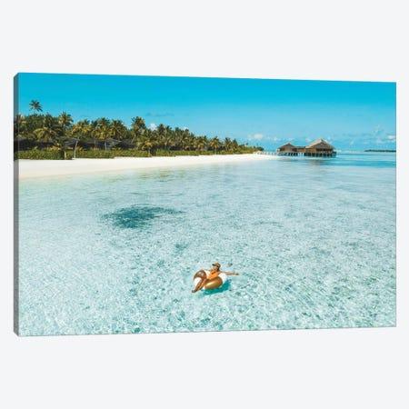 Maldives Resort Ocean Girl Pool Ring Canvas Print #JVO104} by James Vodicka Canvas Art Print