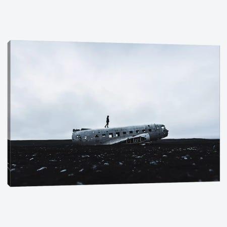 Man Walking Plane Wreck Canvas Print #JVO105} by James Vodicka Canvas Art Print