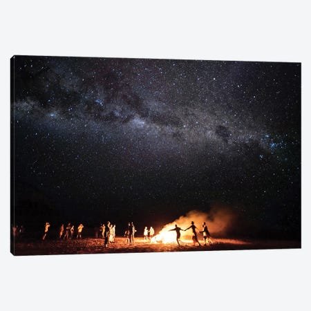 Night Beach Campfire Under Milkyway Stars Canvas Print #JVO113} by James Vodicka Canvas Art Print