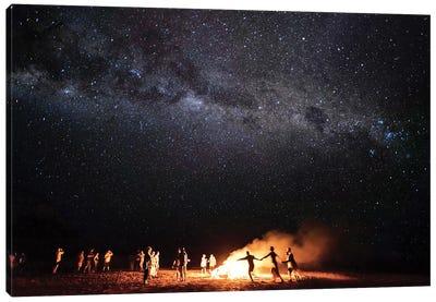 Night Beach Campfire Under Milkyway Stars Canvas Art Print