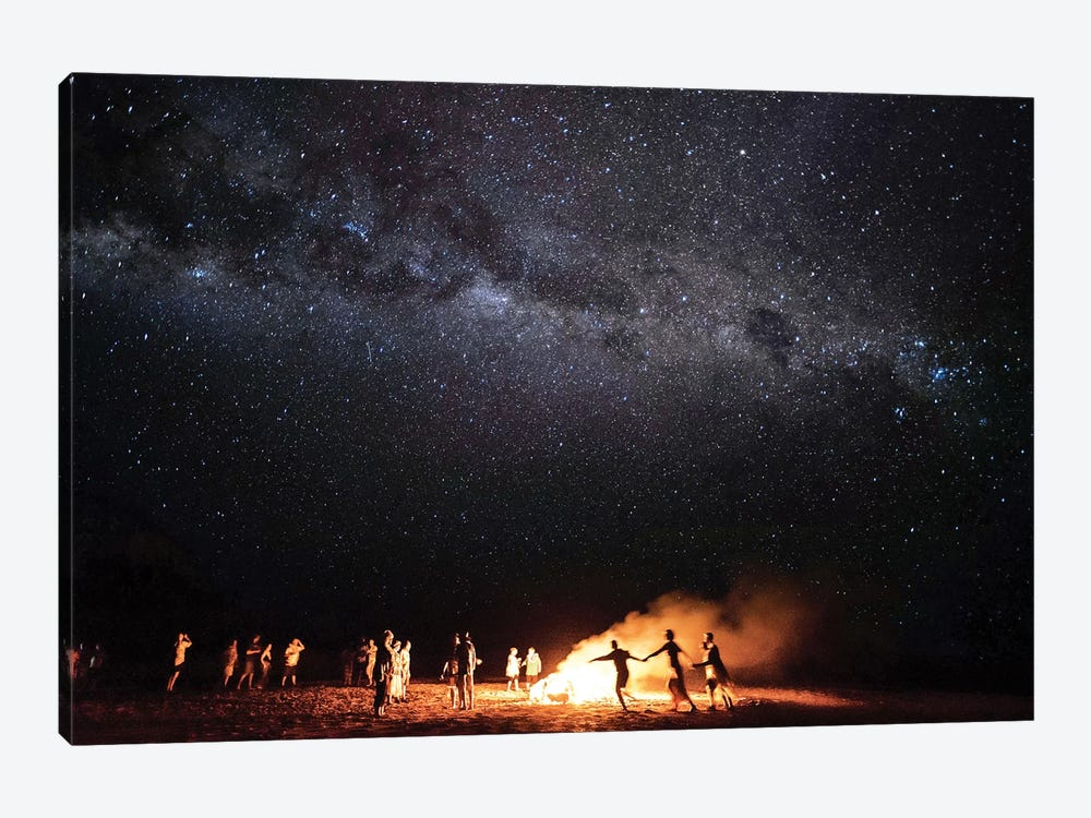 Night Beach Campfire Under Milkyway Stars by James Vodicka 1-piece Canvas Art Print