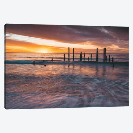 Ocean Jetty Sunset Canvas Print #JVO117} by James Vodicka Canvas Artwork