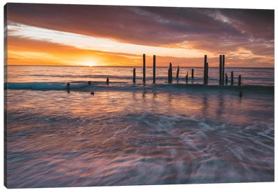 Ocean Jetty Sunset Canvas Art Print