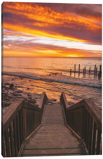 Beach Stairs Sunset Canvas Art Print