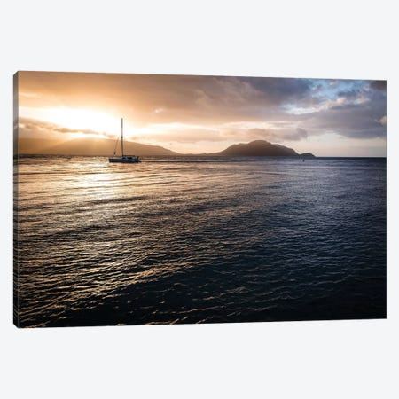 Ocean Sunset Golden Rays & Yacht Canvas Print #JVO121} by James Vodicka Canvas Wall Art