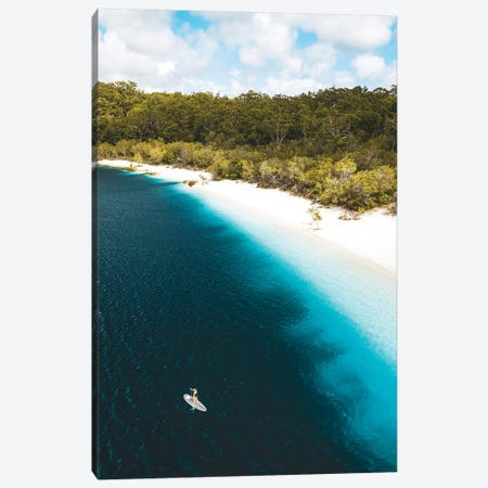 Paddle Boarder Beach Lake Mckenzie (tall) Canvas Print #JVO123} by James Vodicka Canvas Artwork