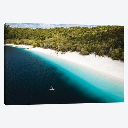 Paddle Boarder Beach Lake Mckenzie (wide) Canvas Print #JVO124} by James Vodicka Canvas Art Print