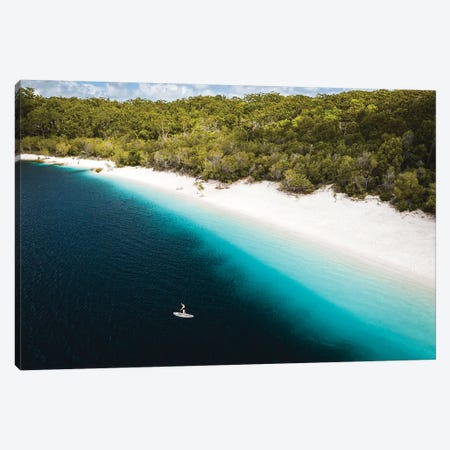 Paddle Boarder Beach Lake Mckenzie (wide) Canvas Print #JVO124} by James Vodicka Canvas Art Print