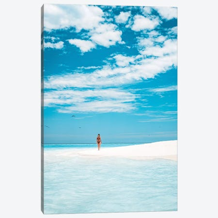 Paradise Island Girl Walking Beach Canvas Print #JVO130} by James Vodicka Canvas Print