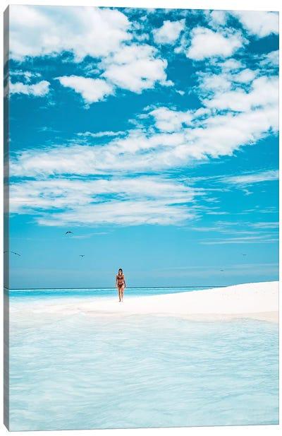 Paradise Island Girl Walking Beach Canvas Art Print