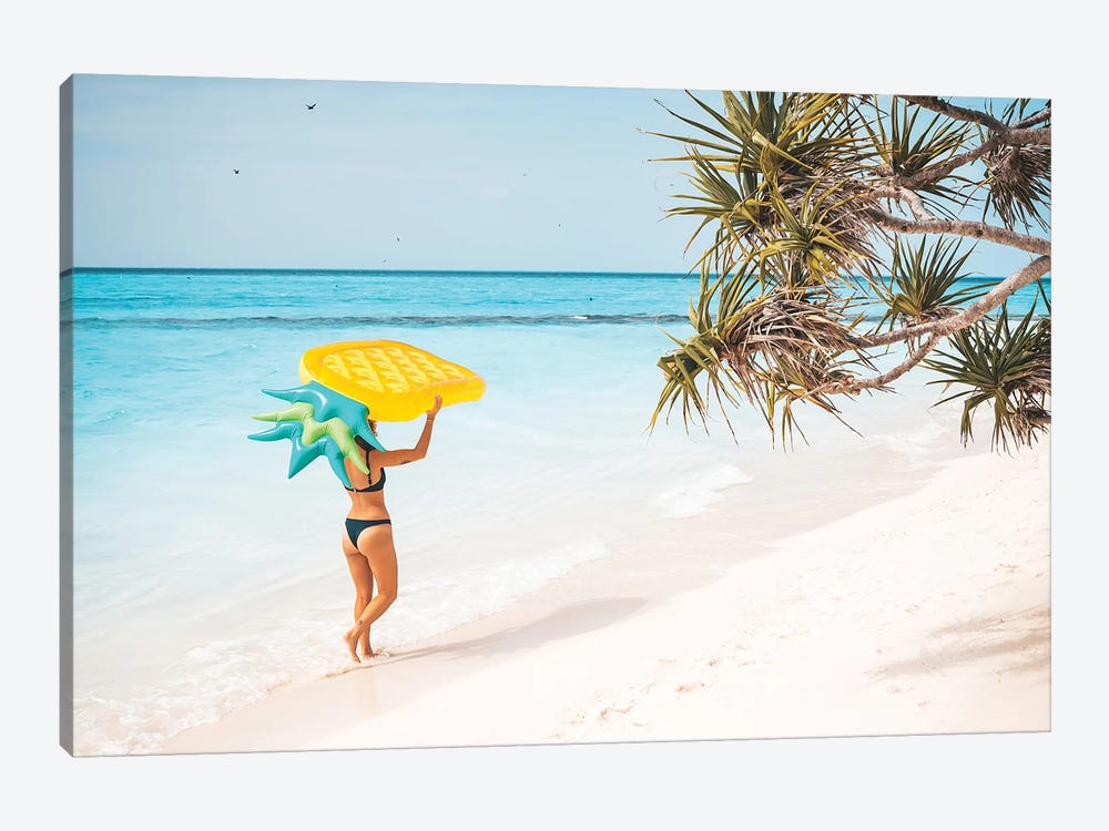 Pineapple Pool Float Tropical Island Girl by James Vodicka 1-piece Canvas Artwork