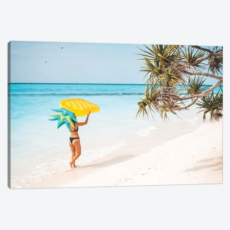 Pineapple Pool Float Tropical Island Girl Canvas Print #JVO132} by James Vodicka Canvas Print
