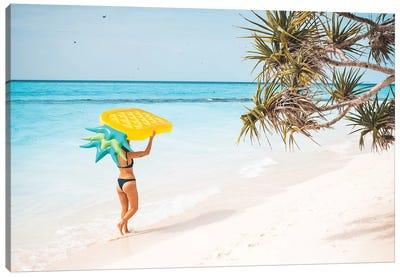 Pineapple Pool Float Tropical Island Girl Canvas Art Print