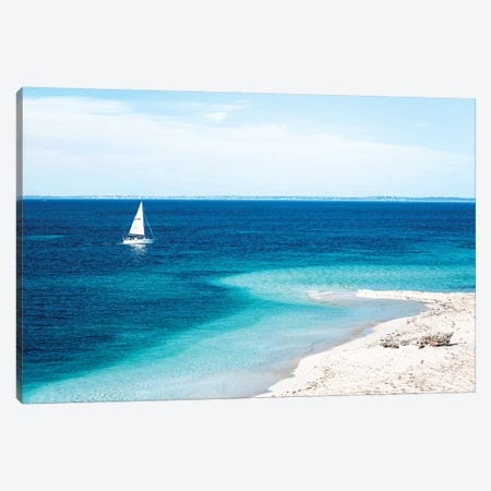 Beach with Sailing Boat Canvas Print #JVO13} by James Vodicka Canvas Print