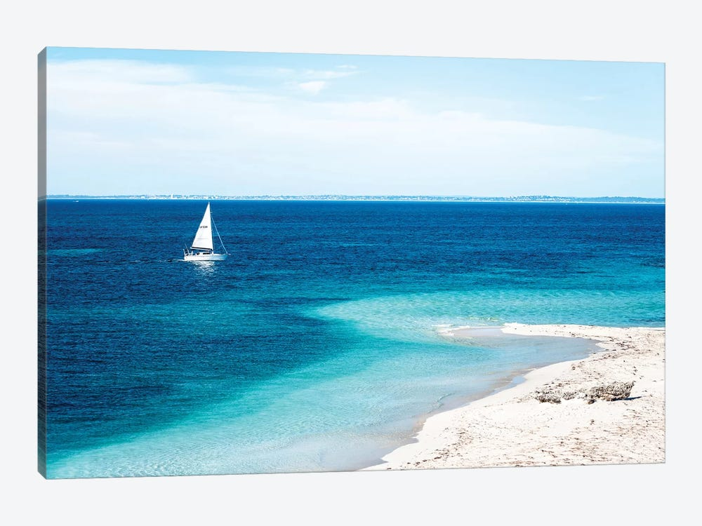 Beach with Sailing Boat by James Vodicka 1-piece Canvas Print