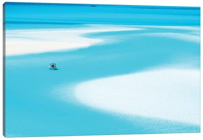Sand Patterns Hill Inlet with Zodiac Boat Canvas Art Print