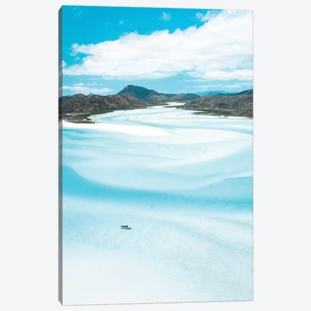Sand Swirls Hill Inlet with Boat (tall) Canvas Print #JVO155} by James Vodicka Canvas Art