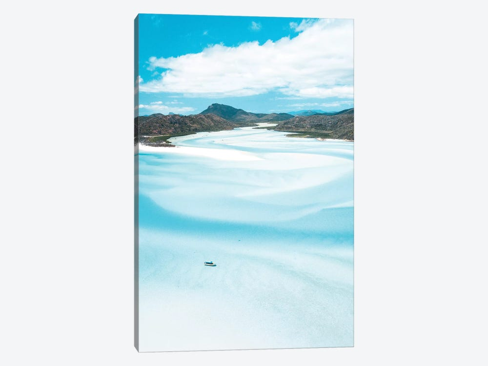 Sand Swirls Hill Inlet with Boat (tall) by James Vodicka 1-piece Canvas Print