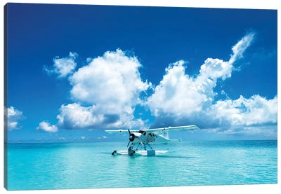 Sea Plane Resting On Turqoise Island Water Canvas Art Print