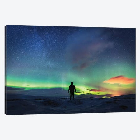 SIlhouetted Man With Aurora Northern Lights Canvas Print #JVO162} by James Vodicka Canvas Art