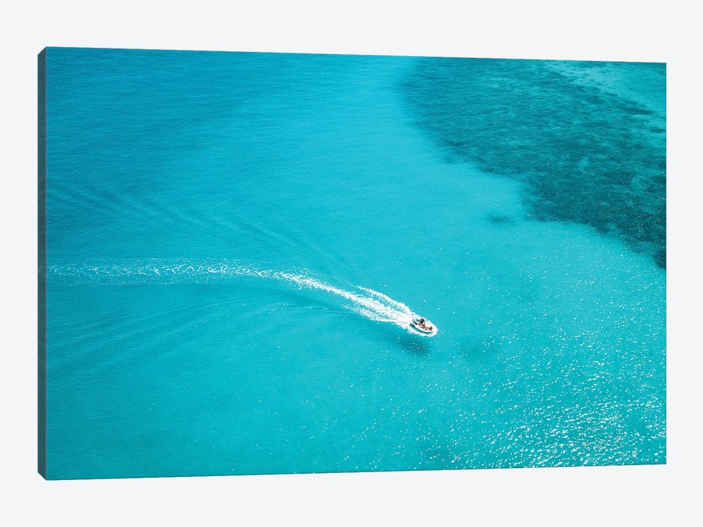 Small Boat Turquoise Water by James Vodicka 1-piece Canvas Print