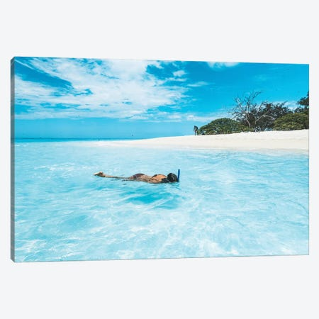 Snorkelling Girl Tropical Island Canvas Print #JVO166} by James Vodicka Canvas Art Print