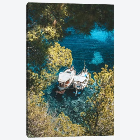 Spanish Coastline Boats Canvas Print #JVO168} by James Vodicka Canvas Artwork